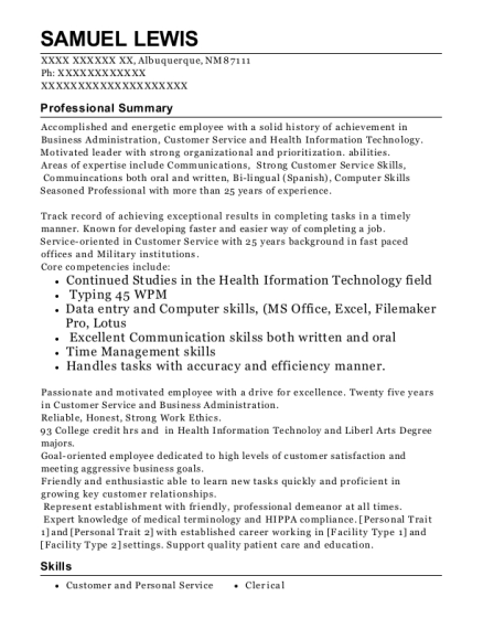 Medical Records Clerk resume sample New Mexico
