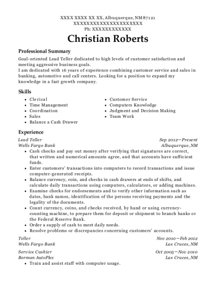 Lead Teller resume format New Mexico
