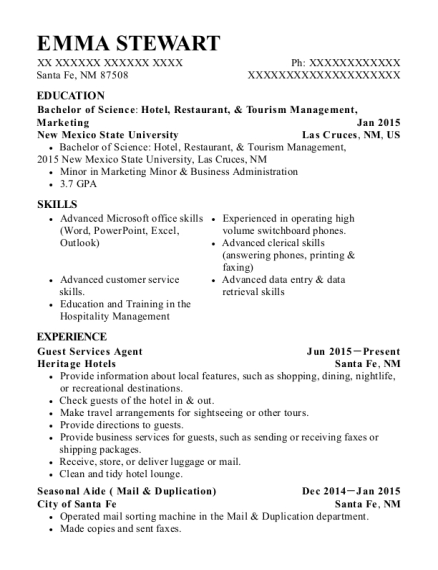 Guest Services Agent resume example New Mexico