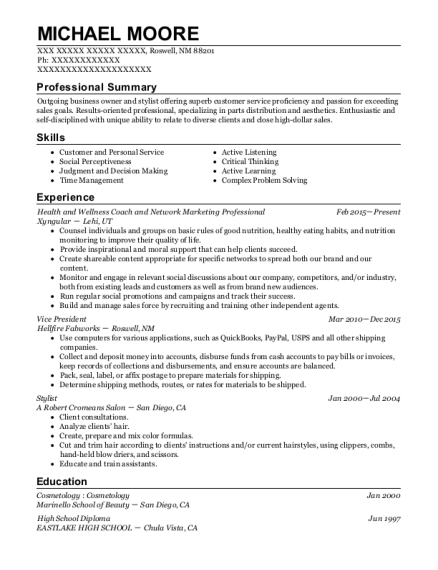 Health and Wellness Coach and Network Marketing Professional resume sample New Mexico