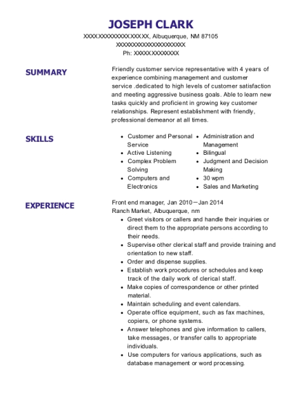 Front end manager resume example New Mexico
