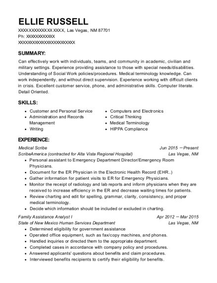 Medical Scribe resume example New Mexico