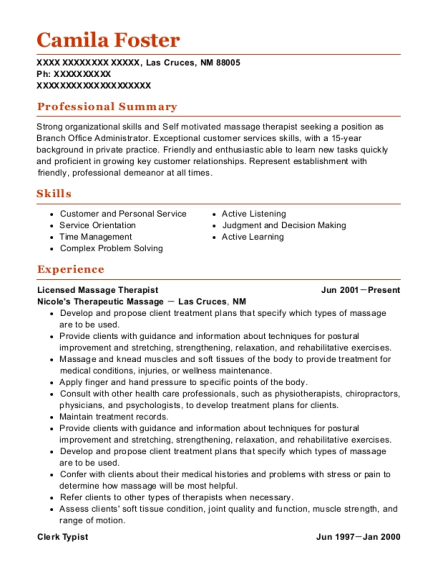 Licensed Massage Therapist resume example New Mexico