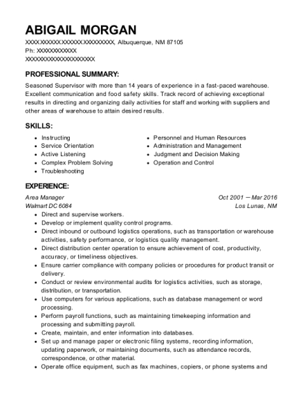 Area Manager resume format New Mexico