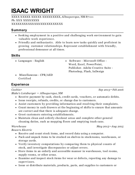 Cashier resume sample New Mexico