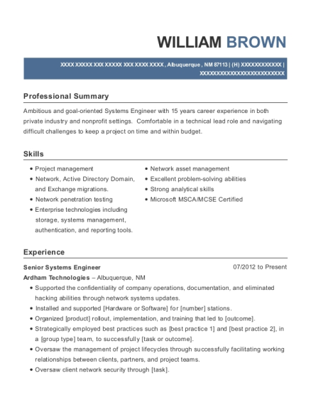 Senior Systems Engineer resume example New Mexico