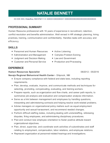 Human Resources Specialist resume template New Mexico