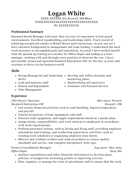 CEO Owner resume sample New Mexico