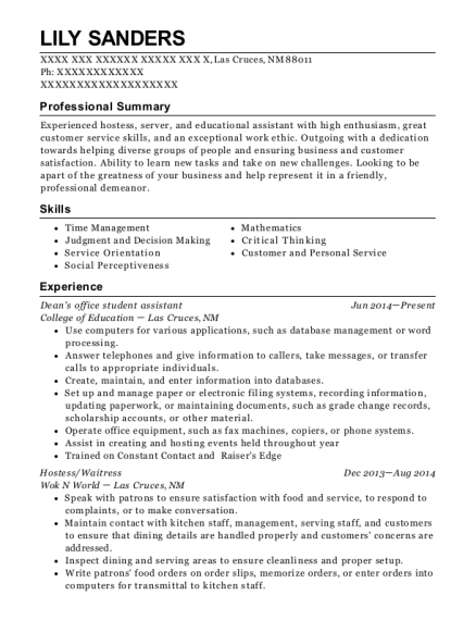 Deans office student assistant resume format New Mexico