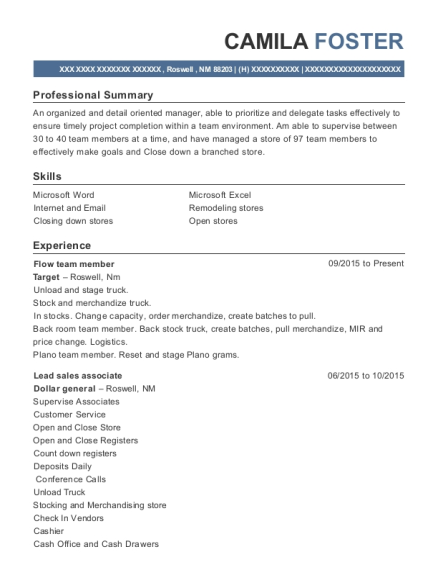 Flow team member resume example New Mexico