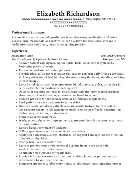 Medication Aide resume sample New Mexico