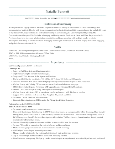 Call Center Specialist resume format New Mexico