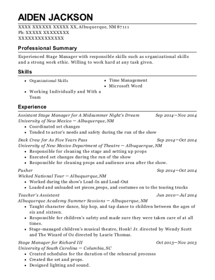 Assistant Stage Manager for A Midsummer Nights Dream resume sample New Mexico