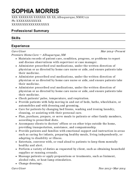 Care Giver resume format New Mexico