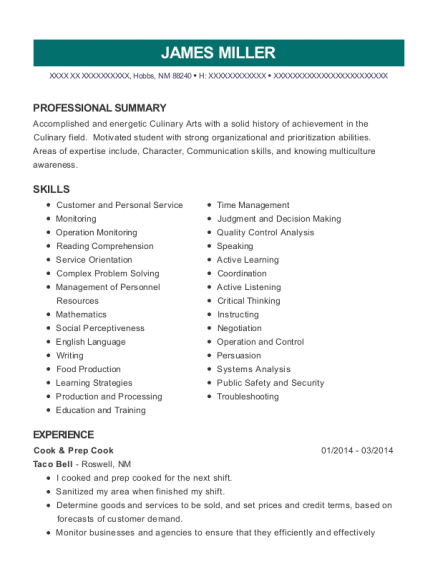 Cook & Prep Cook resume template New Mexico