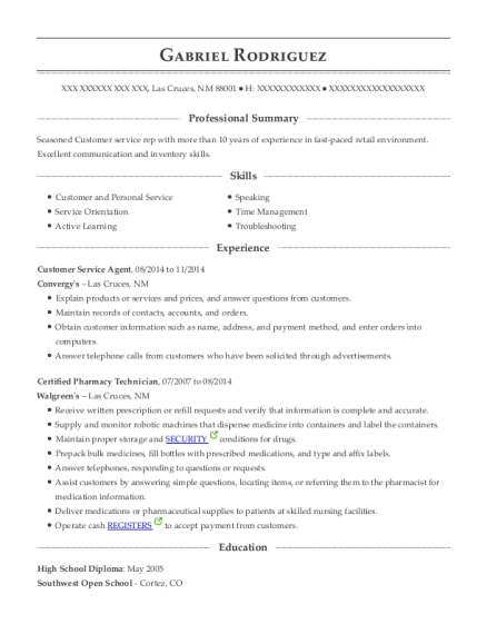 Customer Service Agent resume example New Mexico