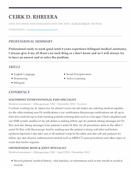 Medical Assistance resume sample New Mexico