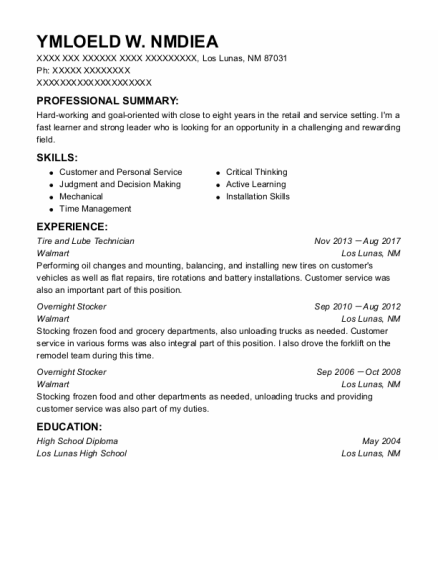 Best Tire And Lube Technician Resumes