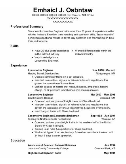 Locomotive Engineer resume sample New Mexico