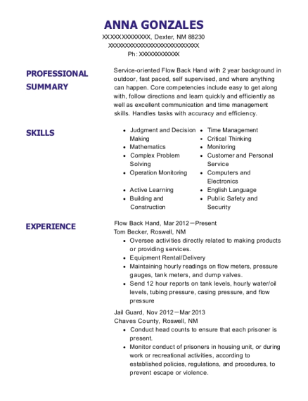 Flow Back Hand resume format New Mexico