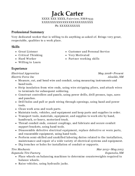 Electrical Apprentice resume format New Mexico