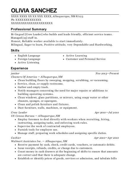 janitor resume sample New Mexico