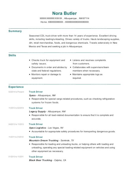 Truck Driver resume format New Mexico
