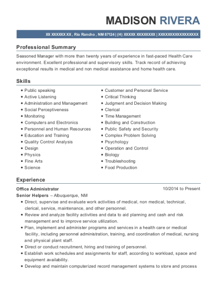 Office Administrator resume format New Mexico