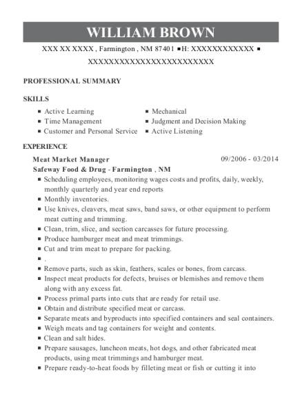 Meat Market Manager resume example New Mexico