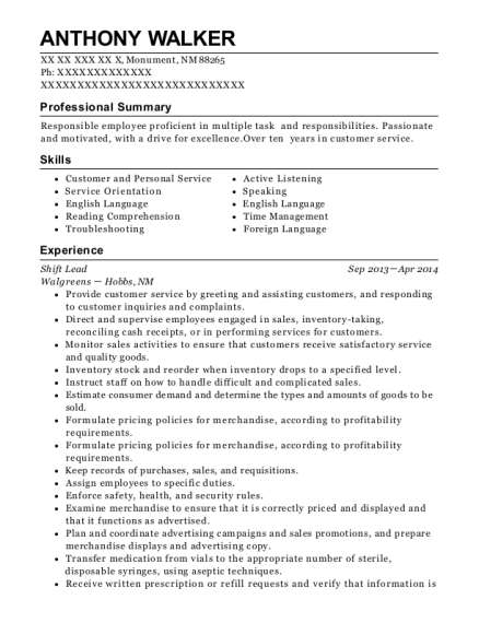Shift Lead resume example New Mexico