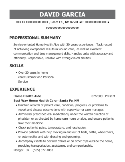 Home Health Aide resume template New Mexico