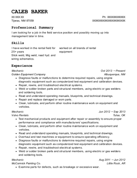Mechanic resume example New Mexico