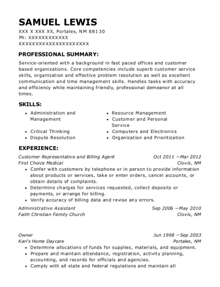 Customer Representative and Billing Agent resume example New Mexico