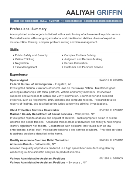 Special Agent resume template New Mexico