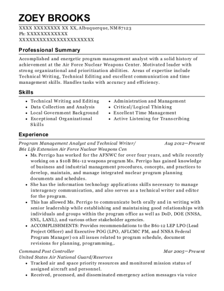 Program Management Analyst and Technical Writer resume template New Mexico