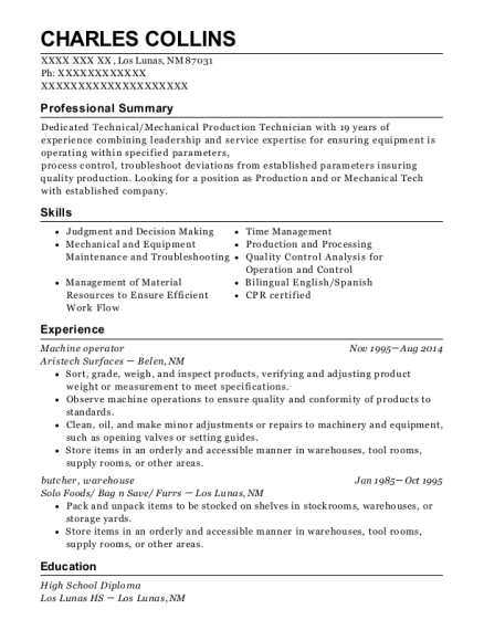 Machine operator resume sample New Mexico