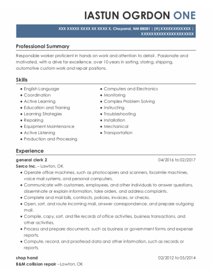 Shop Hand resume sample New Mexico