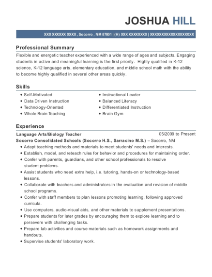 Language Arts resume template New Mexico