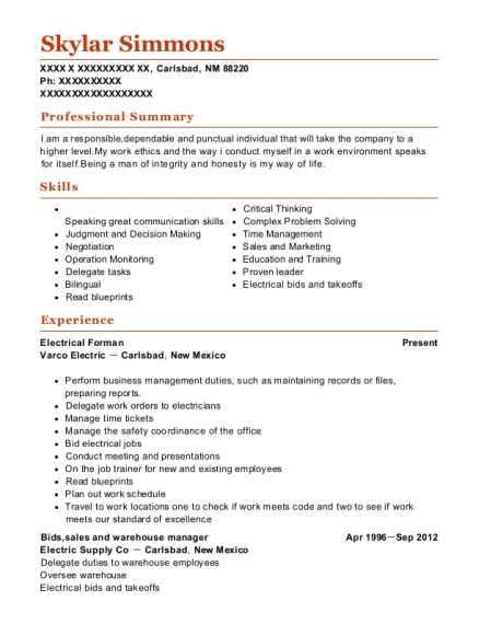 Electrical Forman resume sample New Mexico