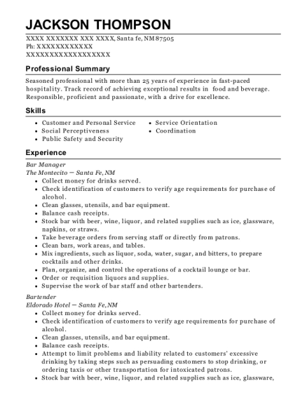 Bar Manager resume example New Mexico