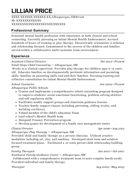 Assistant Clinical Director resume template New Mexico