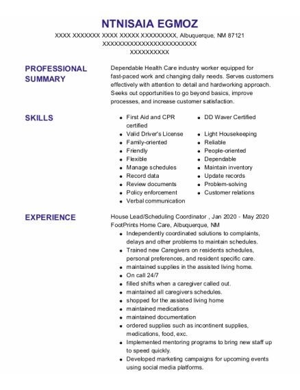Cargiver resume format New Mexico