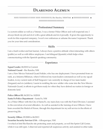 Squad Leader resume format New Mexico