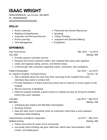 Fast Food Server resume format New Mexico