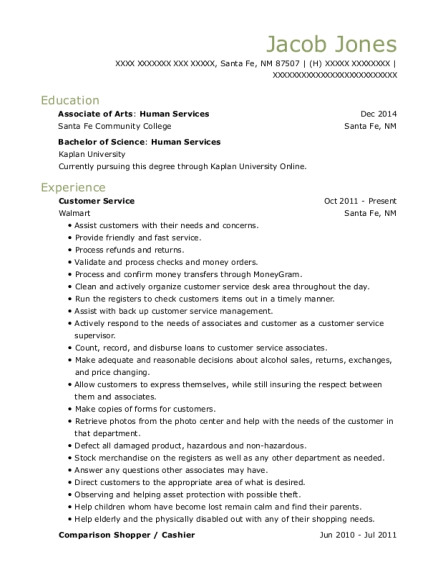Customer Service resume example New Mexico