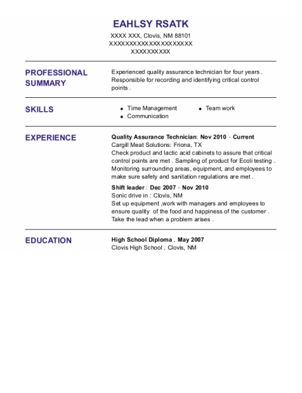 Quality Assurance Technician resume format New Mexico