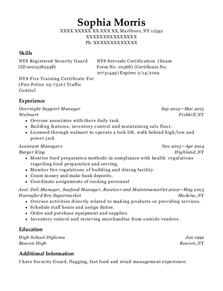 Overnight Support Manager resume template New York