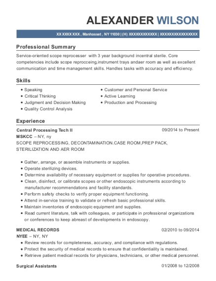 Central Processing Tech II resume template New York