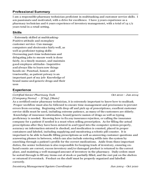 Certified Senior Pharmacy Tech resume sample New York