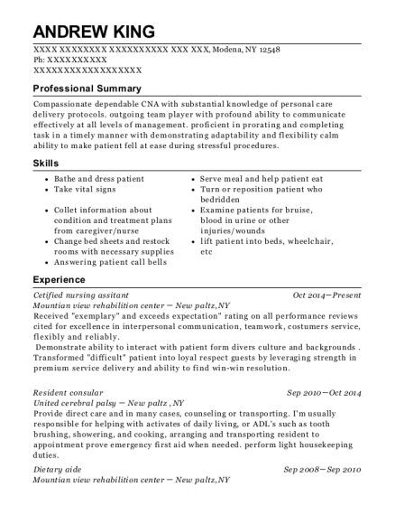 Cetified nursing assitant resume format New York